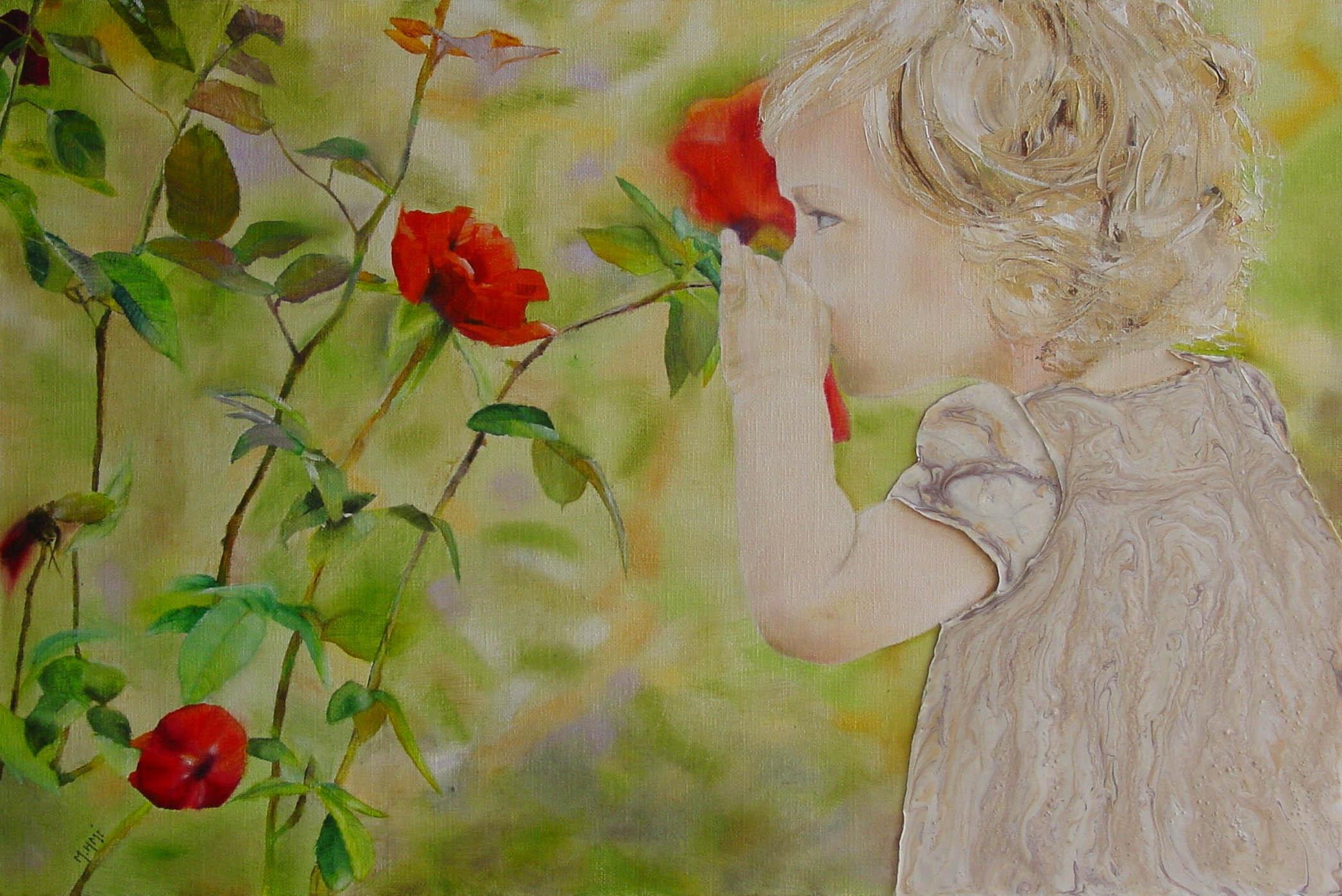 La vie en rose - Peinture à l'huile, aux couteaux et à la résine