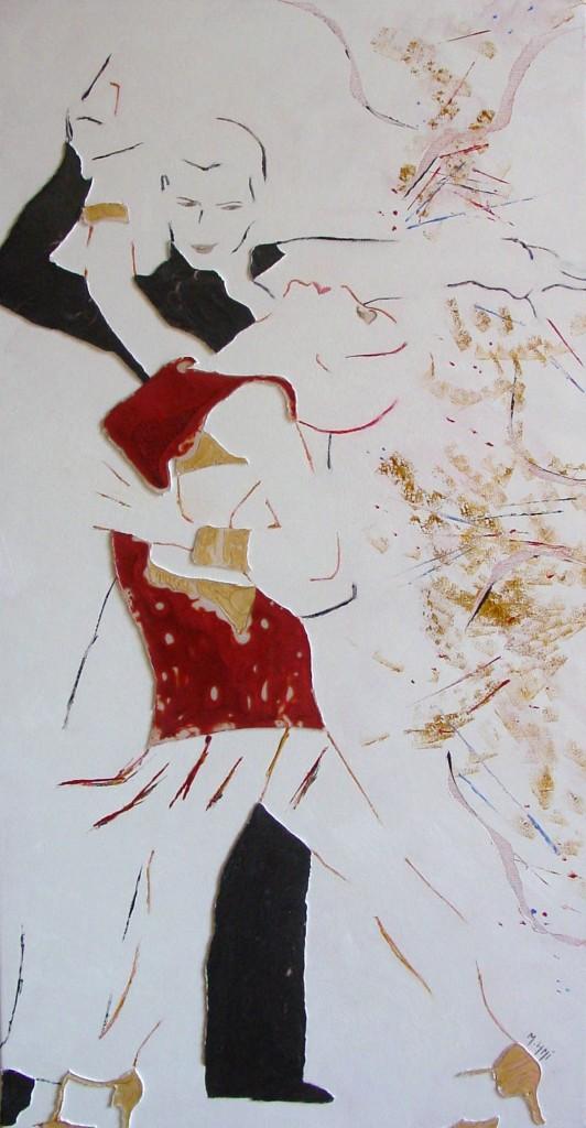 Eux deux - Peinture à l'huile, aux couteaux et à la résine