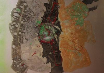 Explosion - Peinture à l'huile sur résine