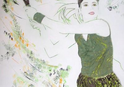 Greenset - Peinture à l'huile, aux couteaux et à la résine